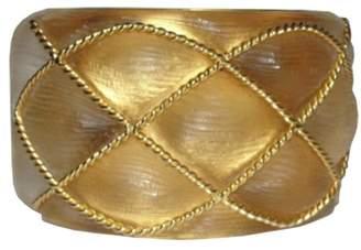 Alexis Bittar Beige Quilted Lucite Cuff Bracelet