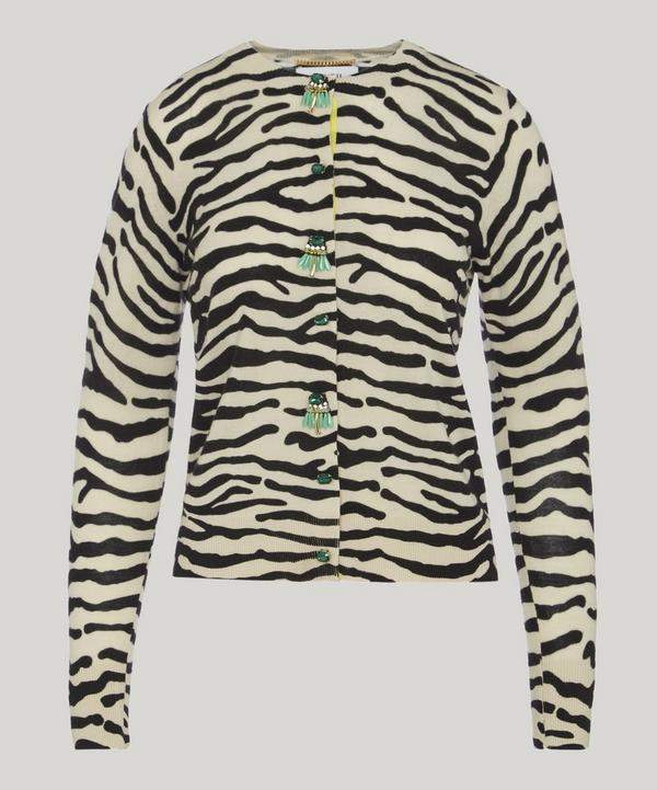 Jewel Button Zebra Knit