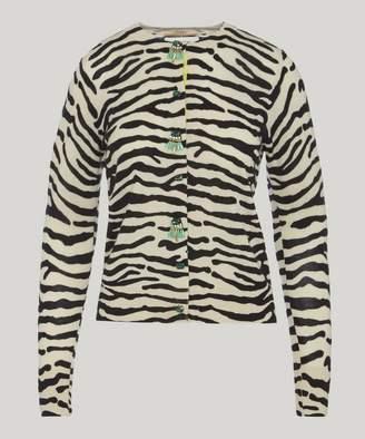 Muveil Jewel Button Zebra Knit