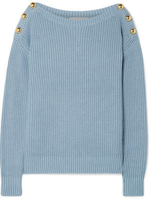 MICHAEL Michael Kors Embellished Ribbed Cotton-blend Sweater - Sky blue 027415c18