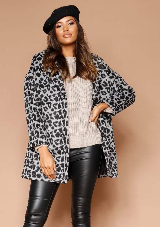 Missyempire Katrina Grey Leopard Print Boyfriend Coat