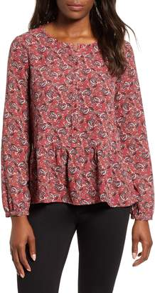 Gibson Front Button Peplum Blouse