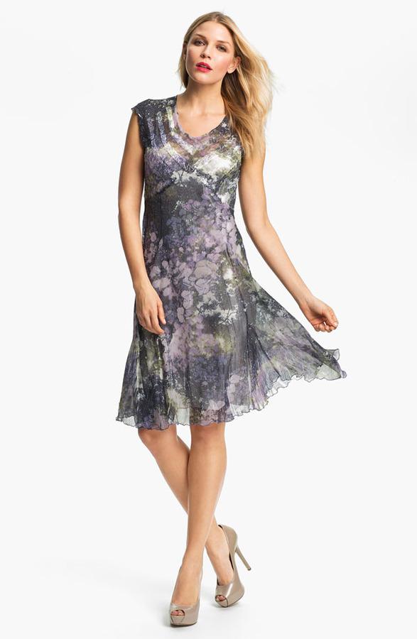 Komarov Print Chiffon Fit & Flare Dress
