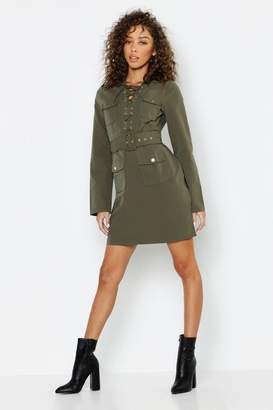 boohoo Lace Up Front Utility Mini Dress