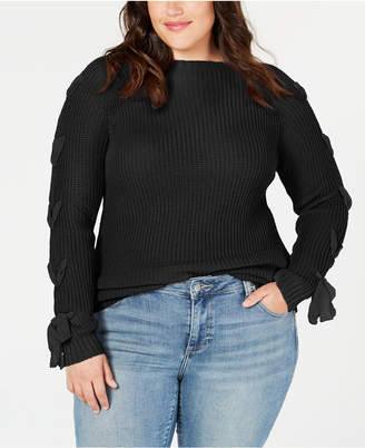 Say What Trendy Plus Size Lace-Up Sweater