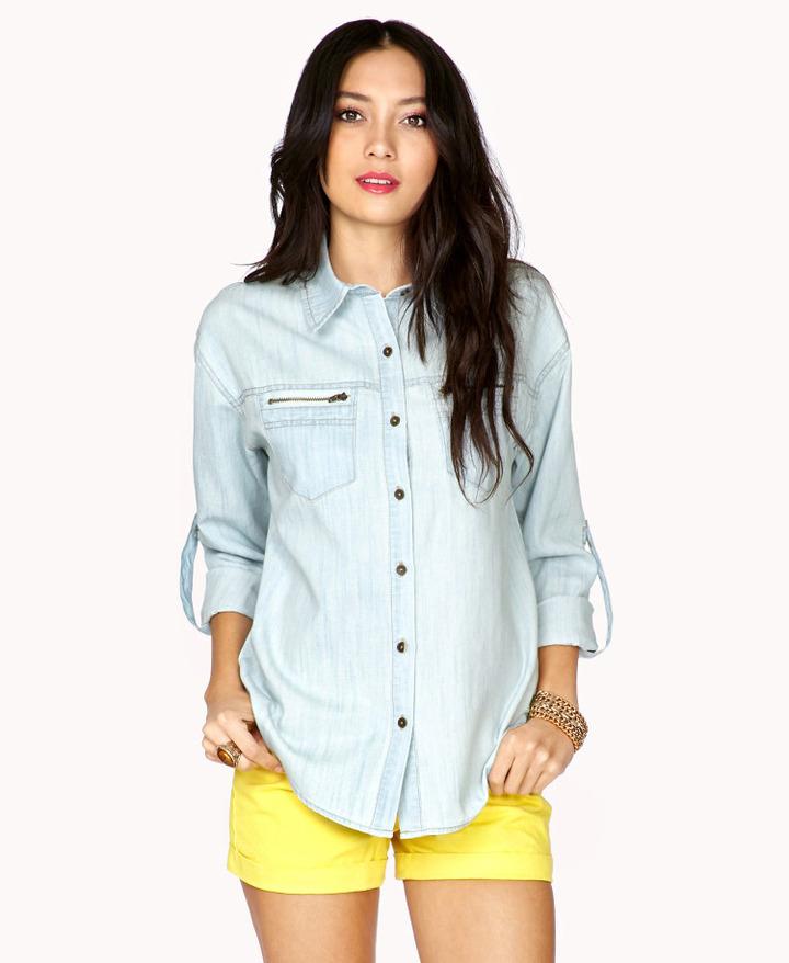 Forever 21 Life in ProgressTM Zippered Chambray Shirt