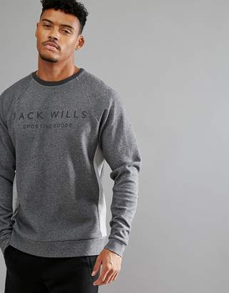 Jack Wills Sporting Goods Seagrave Color Block Crew Neck Sweater In Gray