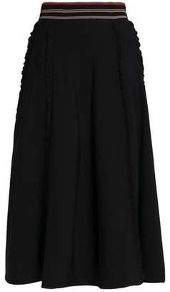 Roksanda Pleated Ruffle-Trimmed Stretch-Knit Midi Skirt