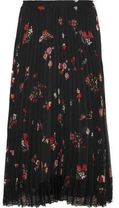 RED Valentino Pleated Floral-Print Chiffon Midi Skirt