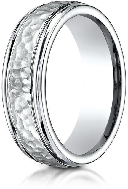 Benchmark Cobalt 7mm Comfort-Fit Hammered-Finished Design Ring