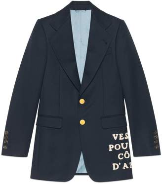 Gucci Wool twill jacket with appliqué