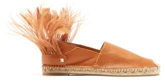 Valentino Feather Strap Leather Espadrilles - Womens - Tan