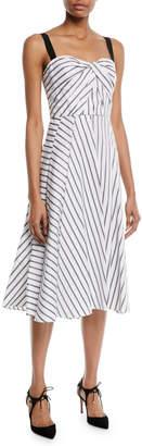 Jason Wu Sleeveless Twist-Front Fit-and-Flare Striped Cotton Midi Dress