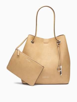 Calvin Klein novelty cinch tote bag + zip pouch