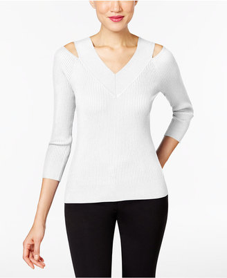 Cable & Gauge Ribbed-Knit Cold-Shoulder Top $50 thestylecure.com