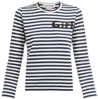 Comme des Garcons Striped Long Sleeved Cotton Jersey T Shirt - Womens - Navy White