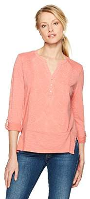 Nine West Women's Tracey Embroidered Henley Top
