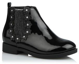 George Black Patent Flower Trim Ankle Boots