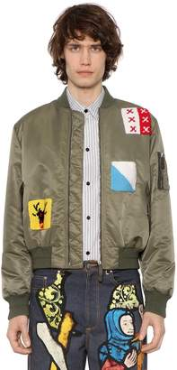 J.W.Anderson Nylon Bomber Jacket W/ Crochet Patches