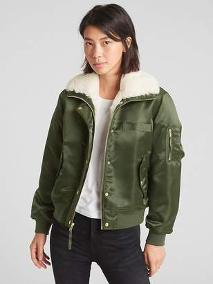 Gap Faux-Fur Lined Bomber Jacket