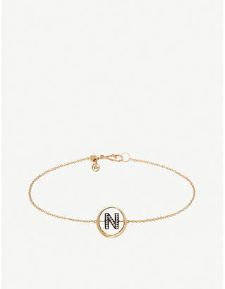 N. Annoushka 18ct yellow gold and diamond Initial bracelet