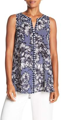 Spense Front Button Mixed Print Tunic