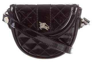 Pre Owned At Therealreal Burberry Quilted Patent Leather Crossbody Bag
