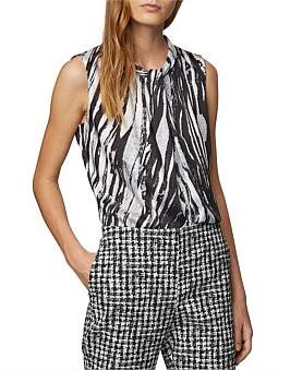 HUGO BOSS Sleeveless Top In Zebra-Print Italian Twill
