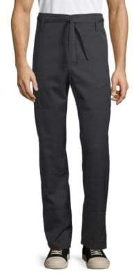 Valentino Belted Straight-Fit Wool Pants