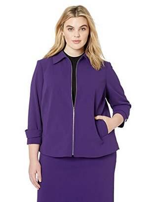Calvin Klein Women's Plus Size Scuba Crepe Button Front Jacket