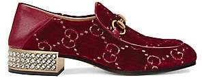 81f854c6e2a Gucci Women s Horsebit GG Velvet Crystal Loafers