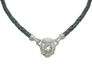 """Judith Ripka Sterling Silver & Leather 17"""" Neck"""