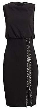 Badgley Mischka Women's Embellished Zip Crepe Dress