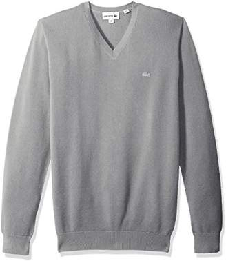 Lacoste Men's Long Sleeve Pique Mesh Effect V-Neck Sweater