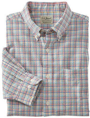 L.L. Bean L.L.Bean Men's Seersucker Shirt, Long-Sleeve Tattersall
