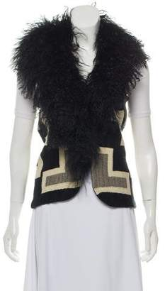 Ralph Lauren Shearling-Accented Wool-Blend Vest