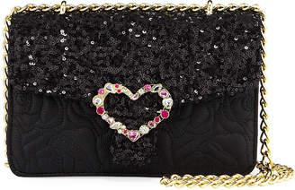Betsey Johnson Embellished Quilted Chain-Strap Shoulder Bag