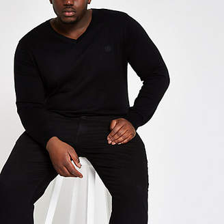 River Island Big and Tall slim fit black v neck sweater
