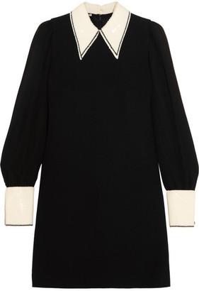 Miu Miu - Sequined Cady And Chiffon Mini Dress - Black