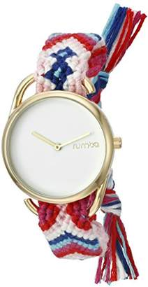 RumbaTime Women's 20007 'Jane Gold Young Survival Coalition' Quartz Metal and Cloth Pink Watch