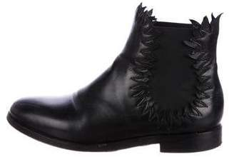 Alaia Leather Round-Toe Ankle Boots