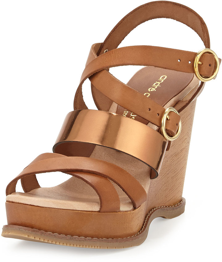 Andre Assous Jenny Mixed-Leather Wedge Sandal, Bronze