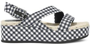 Rag & Bone Megan Gingham Canvas Platform Slingback Sandals