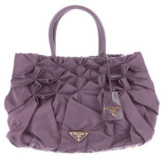 prada Prada Leather-Trimmed Tessuto B Bag