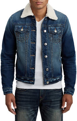 True Religion MENS SHERPA COLLAR DENIM JACKET