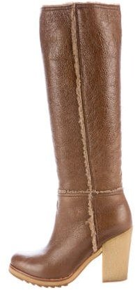 prada Prada Shearling-Trimmed Knee-High Boots
