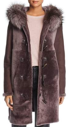 Maximilian Furs Reversible Fox Fur Trim Hooded Lamb Shearling Coat - 100% Exclusive