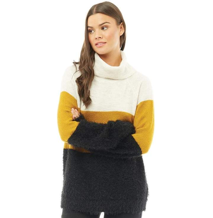 Womens Elsa Colour Block High Neck Jumper Cloud Dancer/Chai Tea