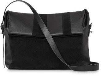 Allsaints Casey Calfskin Leather & Suede Shoulder Bag - Black $328 thestylecure.com