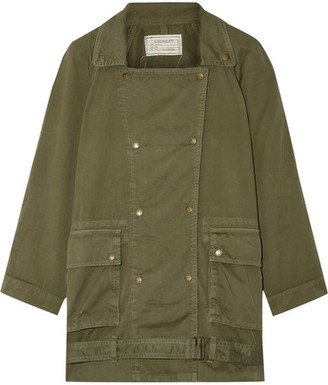 Current/Elliott - The Infantry Cotton-gabardine Jacket - Army green $270 thestylecure.com